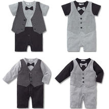 Baby Kid Toddler Boy Gentleman Onesie Bodysuit Romper Jumpsuit Tuxedo Outfit Set image 1