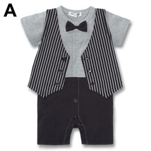 Baby Kid Toddler Boy Gentleman Onesie Bodysuit Romper Jumpsuit Tuxedo Outfit Set image 2