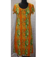 Womens Vtg Rikki Sue Sz XL Dress Bright Floral Accordian Polyester Hippi... - $32.92