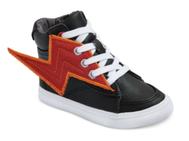 Boys Cat & Jack Odis Black Lightning Bolt High Top Toddler Shoes Sneakers NWT image 1