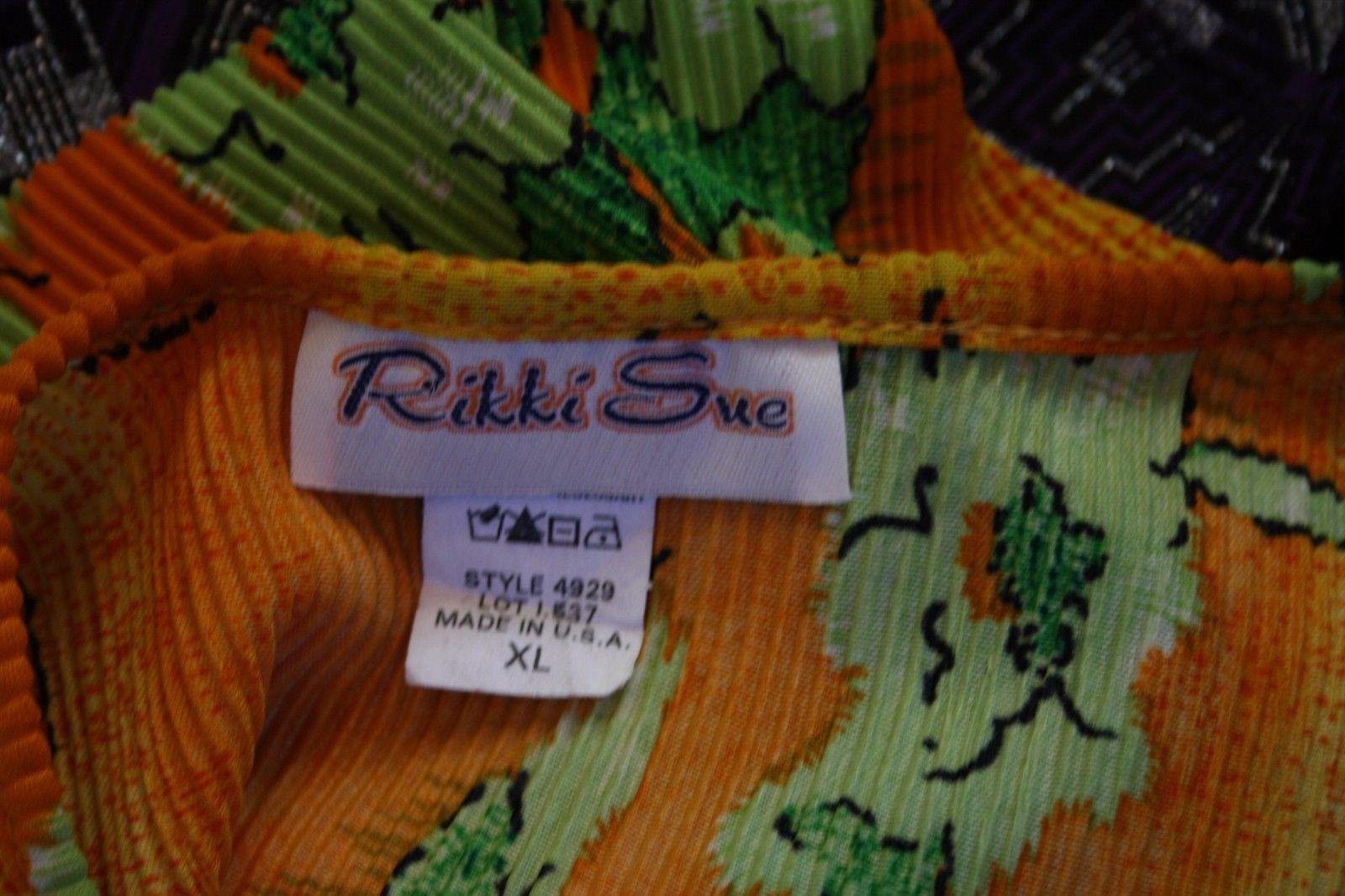 Womens Vtg Rikki Sue Sz XL Dress Bright Floral Accordian Polyester Hippie Retro