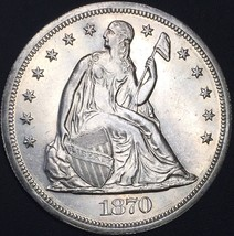 1870 SEATED LIBERTY SILVER DOLLAR UNCIRCULATED MS+ DETAILS COIN PL SURFACES - $1,120.00