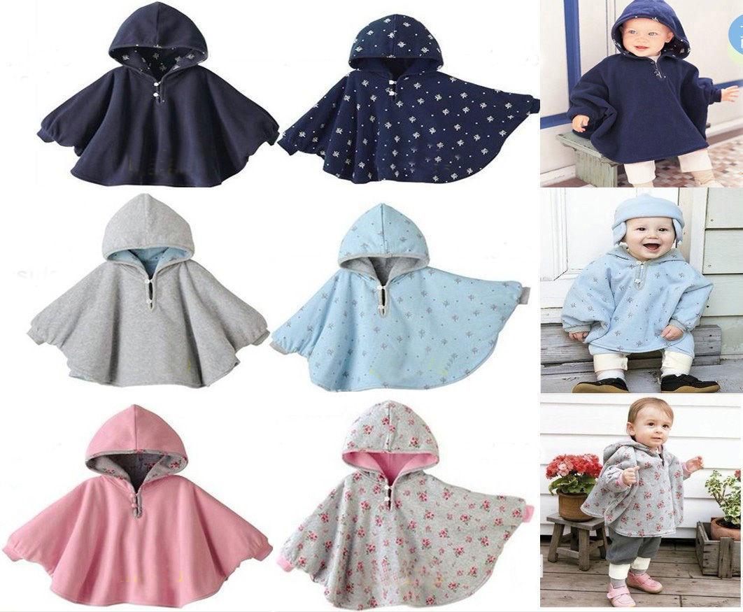 Baby Kids Toddler Reversible Hooded Cape Cloak Poncho Coat Hoodie Jacket Outwear