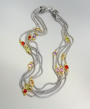 GORGEOUS Silver Box Chain Cables Multi CZ Crystals 5 Strands Magnetic Necklace  - $45.99