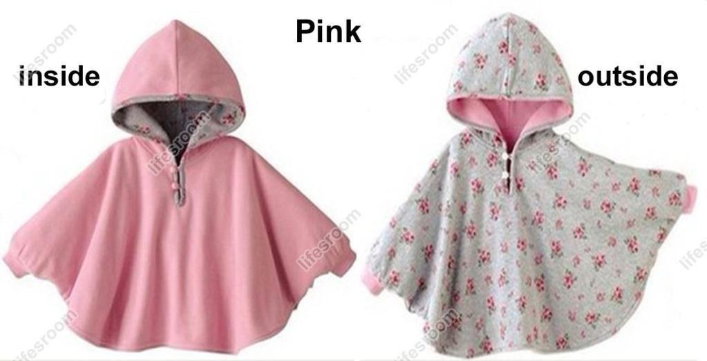 Baby Kids Toddler Reversible Hooded Cape Cloak Poncho Coat Hoodie Jacket Outwear image 4