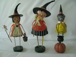 3 Lori Mitchell Halloween Witches Enchanted Eliza, Bubble squeak, Annie ... - $71.78