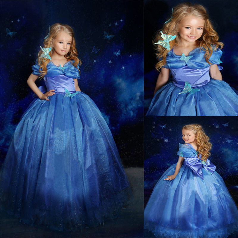 Movie Girls Cinderella Princess Cosplay Party Fancy Dress Xmas Halloween Costume