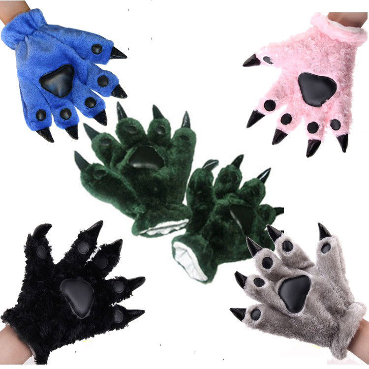 Plush Party Kigurumi Panda Bear Cat Animal Paw Claw Cosplay Fancy Dress Gloves