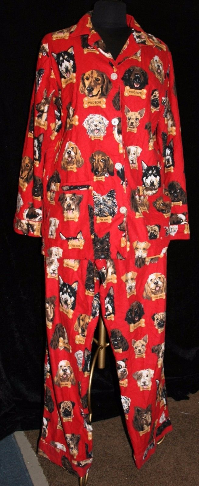 Womens Nick & Nora Flannel Pajamas Red Milk Bone Dog M / S PJ Lounge Top Bottom