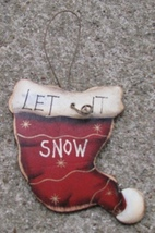 Wood Christmas Ornament 47069lish - Let is snow Hat  - $1.75