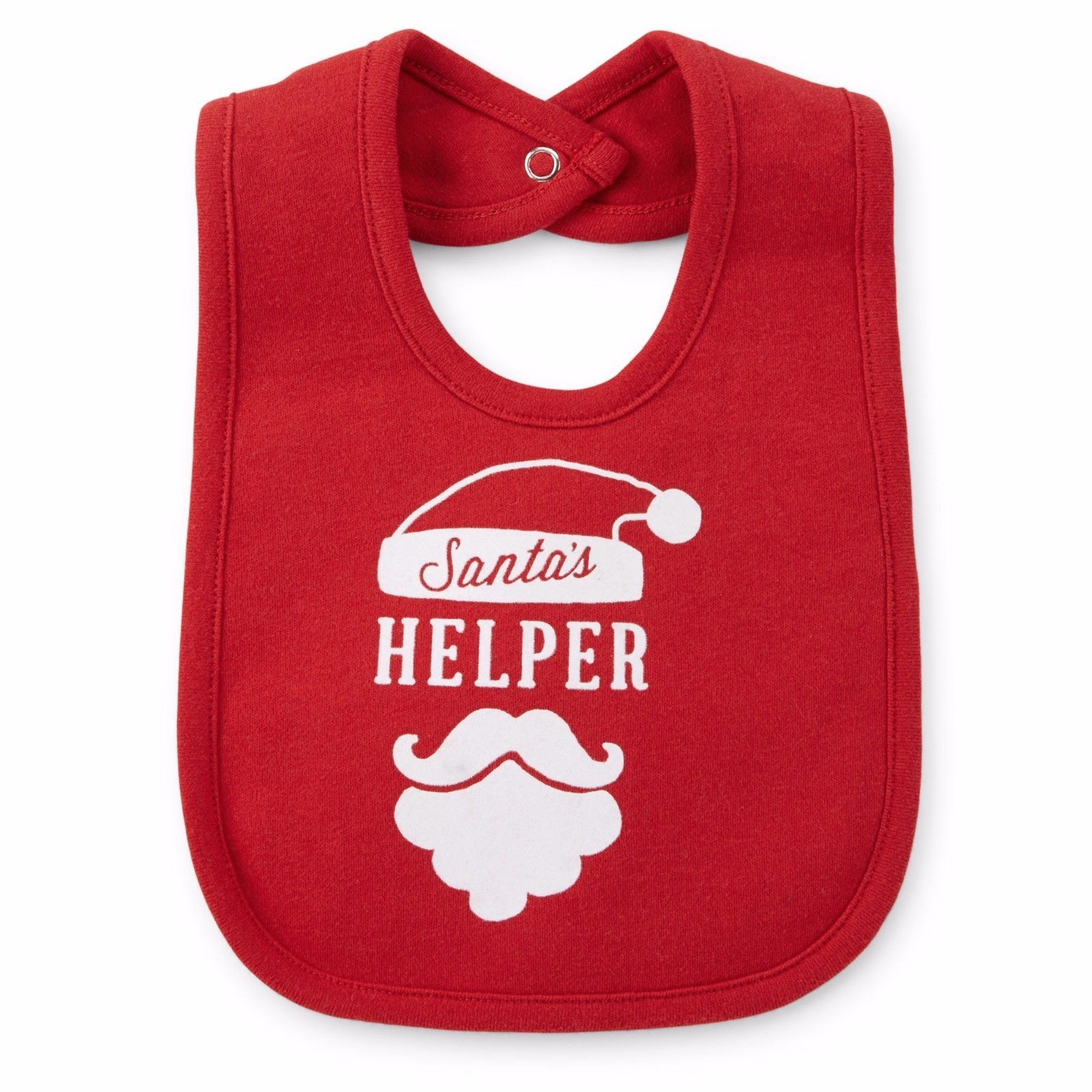 NEW NWT Boys or Girls Christmas Santa Snap Close Bib One Size image 1