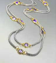 """GORGEOUS Silver Box Cable Chain Purple CZ Crystals 48"""" Extra Long Necklace  - $39.99"""