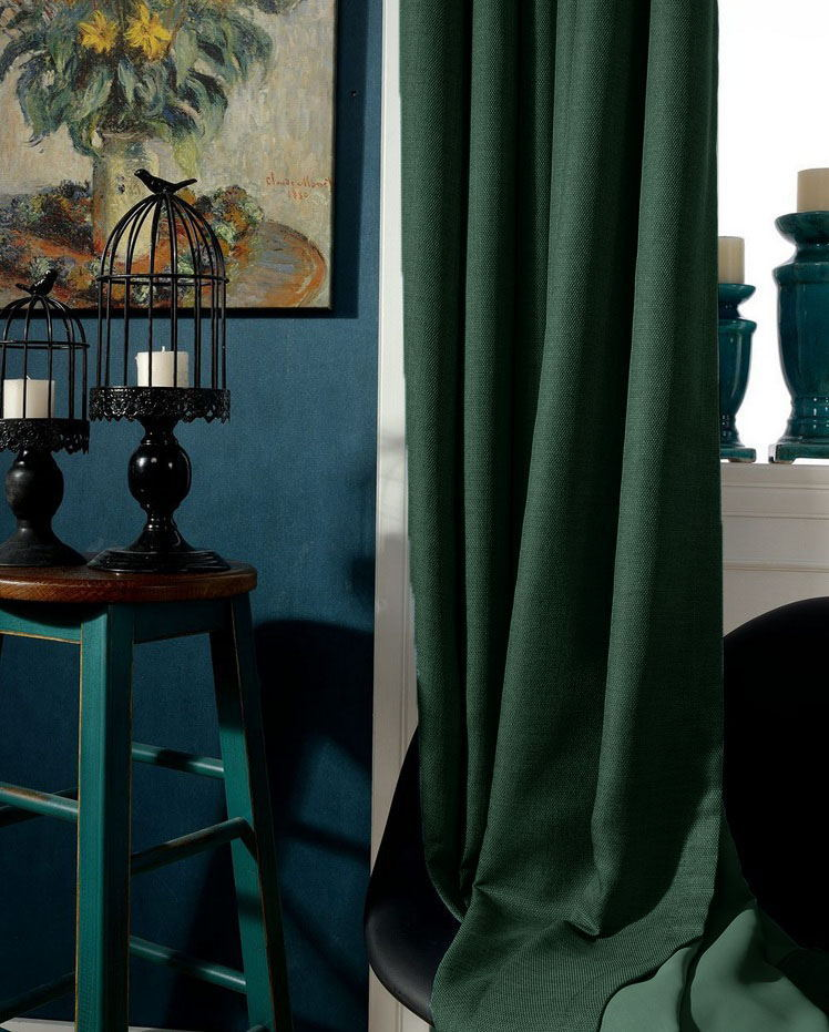 Dark Green Blackout Curtains Custom Window Drapery