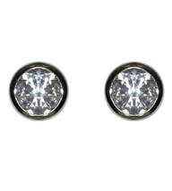 Bezel Set Cubic Zirconia Rhodium Stud Earrings 10 Mm Of Bling - $9.90