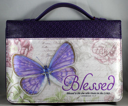 "Bible Cover Blessed Purple Botanic Butterfly NEW Large 7""x 10 1/8""x 1 7/8"" - $26.53"