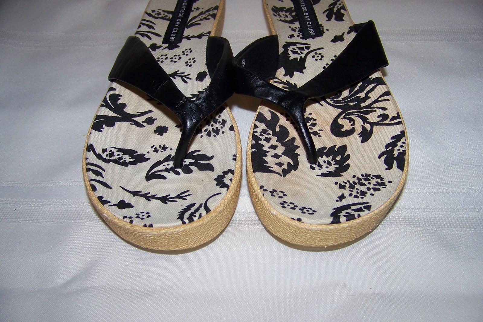 175ec265d Montego-Bay club black and white floral canvas flip flops -  8.32