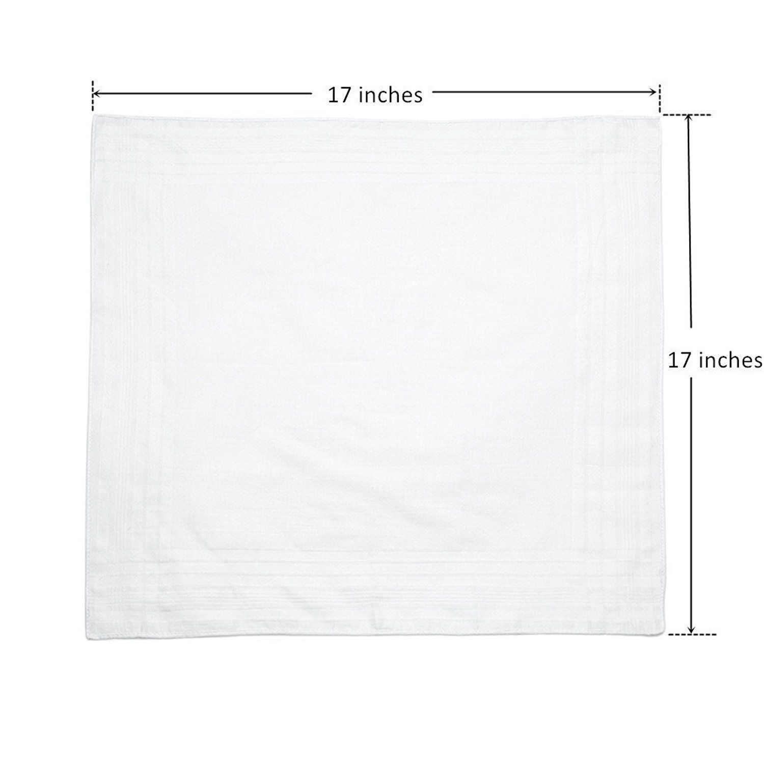 """Classic Mens Handkerchiefs 100% Cotton Solid White with Stripe 17"""" Large 12pc image 3"""