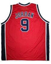 Michael Jordan #9 Team USA New Men Basketball Jersey Red Any Size image 2