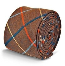 Frederick Thomas mens wool tweed tie in brown with red and blue check