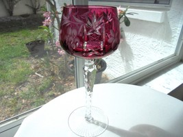"""Nachtmann Cut to Clear Crystal Ruby Red Wine Hock 7 7/8"""" Tall - $69.29"""