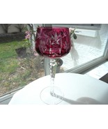 "Nachtmann Cut to Clear Crystal Ruby Red Wine Hock 7 7/8"" Tall - $29.69"