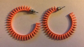 "1 Pair Retro 80s 90s Look Orange Open Hoop 1-1/2"" Post Earrings Fashion ... - $11.61"