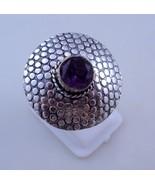 Ring Size 8.5 Amethyst Silver Overlay Handmade Ring Jewelry 8 Gr. Oj-333-21 - $4.94