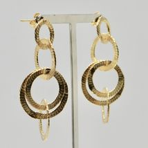 Drop Earrings Silver 925 Foil Gold Circles by Maria Ielpo Made in Italy image 5