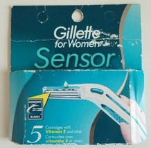 Gillette Sensor For Women 5 Razor Blades Cartridges Vitamin E & Aloe New - $29.60
