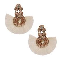 Silk Tassel Drop Earrings for Women Fun Cute Unique Rhinestone Danglers ... - $24.50