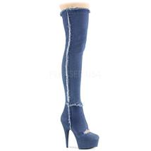 """PLEASER 6"""" Heel Denim Blue Stretch Platform Cutout Thigh High Women's Boots - $99.95"""