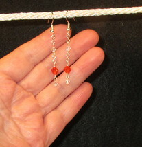 Long made w Red & Clear Swarovski Element Crystals on Silver Rosary Earr... - $12.87