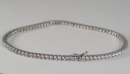 SOLID 18K WHITE GOLD TENNIS BRACELET WITH ZIRCONIA 5.80 CARATS MADE IN ITALY image 2