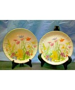 2 SEYMOUR MANNING DAY LILY SNACK PLATES DISHES FINE CHINA REPLACEMENT DI... - $12.00