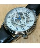 Stuhrling Men 20 Jewel Silver Skeleton Leather Self-Winding Automatic Watch Hour - $66.49
