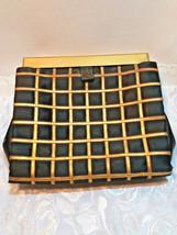 Vintage Black w/ Gold Square Design Evening Clutch Purse W/ Original Mirror image 2