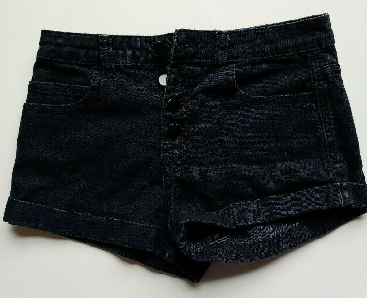 Primary image for XXI Forever 21 Jean Shorts Size 26 Womens Black Button Fly Denim Cuffed Stretch