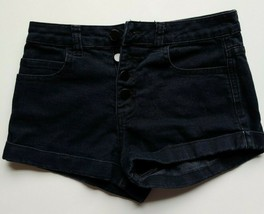 XXI Forever 21 Jean Shorts Size 26 Womens Black Button Fly Denim Cuffed ... - $17.33