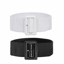 2 Pack Womens Wide Elastic Waist Belt for Dresses Stretch Belts Black+White XL