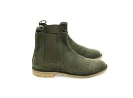 New Men's leather boots, hunter green boot for men, men suede Chelsea boots - $149.99+