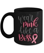 Breast Cancer Awareness Pink Ribbon Novelty Ceramic Coffee Mug - Wear Pi... - $14.95+