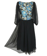 80s does 50s Sheer Chiffon Brocade Metallic Lurex Bateau Neck Pin Up Xma... - $62.00
