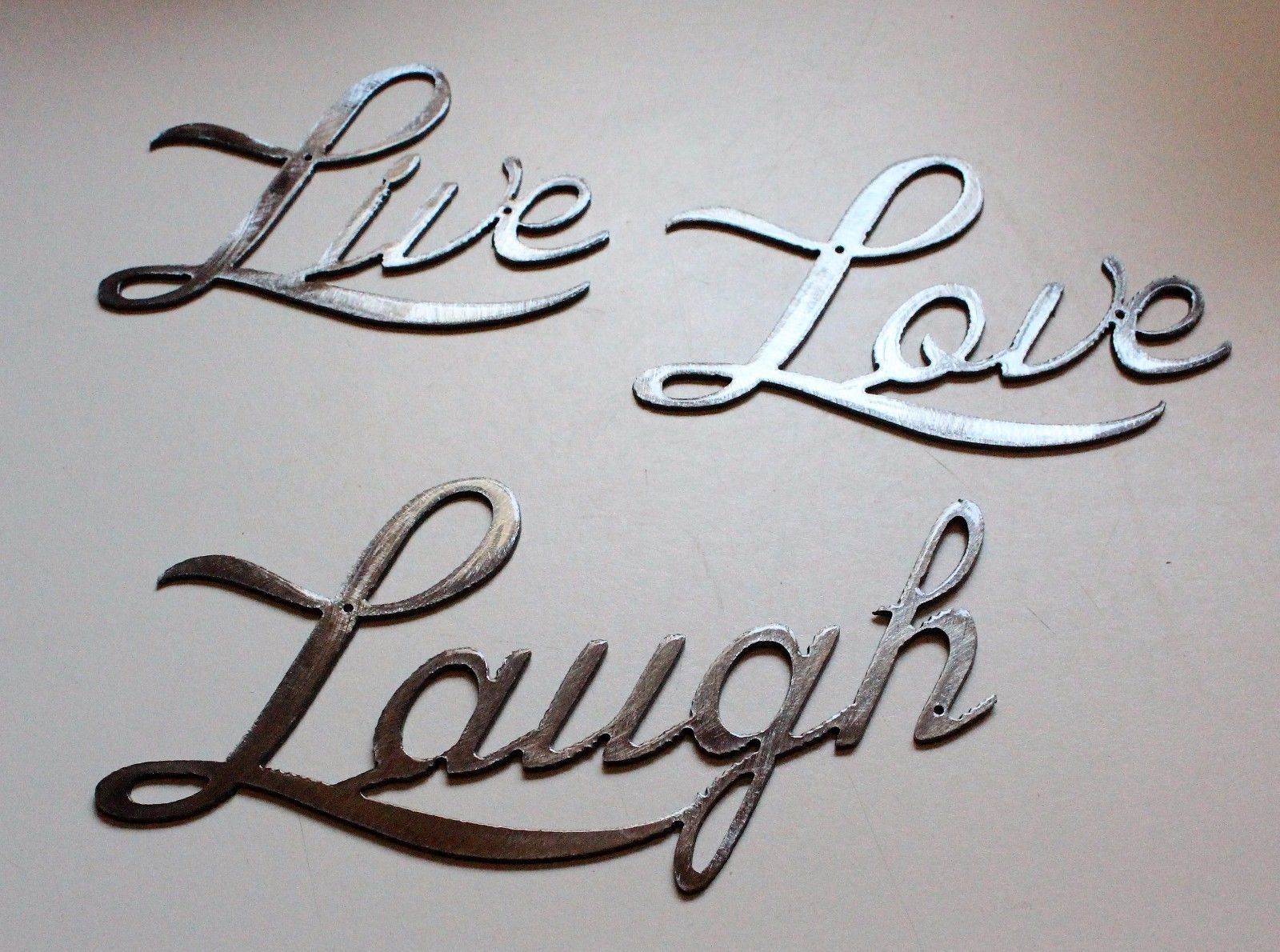 live love laugh small version words metal wall art accents silver wall sculptures. Black Bedroom Furniture Sets. Home Design Ideas