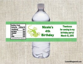 Reptile Lizard Birthday Party Favors Water Bottle Labels Personalized - $3.96+