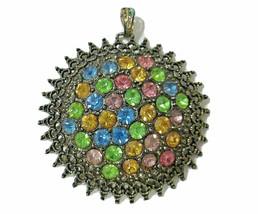 Vtg Signed Necklace Pendant Art Deco LN Little Nemo Colorful Pastel Frui... - $39.00