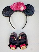 Disney Baby Minnie Black Glitter Shoes 6-9 Mons & polka dot sparkle head... - $2.97