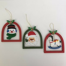Vintage Wooden Christmas Ornaments Set of 3 Santa Snowman Rocking Horse ... - $13.97