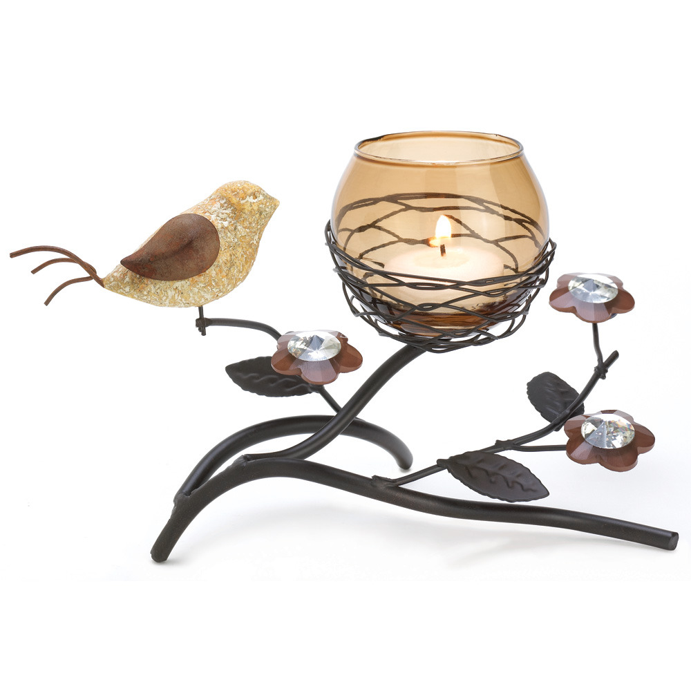 Tealight Holder candleholder birds nest w bronze candle