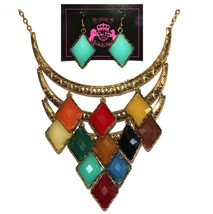 Womens Faceted Faux Crystal Acrylic Diamond Shape Bib Multicolor Necklace Set - $5.93