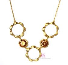 Topaz Cz Beauty Flower Petal Bloom Brushed Matte Gold Plated Circle Necklace - $1.97